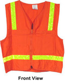 Surveyors Safety Vest Orange with Lime Stripes pic 5