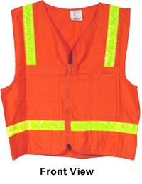 Surveyors Safety Vest Orange with Lime Stripes pic 5