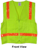 Lime Surveyors Safety Vest with Orange Stripes and Pockets pic 5