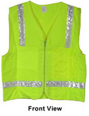 Lime Surveyors Safety Vest with Silver Stripes and Pockets pic 5