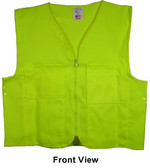 Lime Plain Safety Vests with Pockets