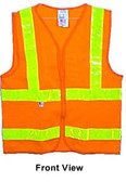 ANSI 2004 Sleeveless Class 2 Double Stripe Orange Mesh Safety Vests - Silver Stripes pic 5