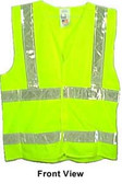 ANSI 2004 Sleeveless Class 2 Double Stripe LIME Safety Vests - Silver Stripes pic 5