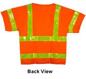 ANSI 2004 SLEEVED Class 3 Double Stripe Orange Mesh Safety Vests - Silver Stripes pic 4
