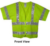 ANSI 2004 SLEEVED Class 3 Double Stripe MESH LIME Safety Vests - Silver Stripes pic 4