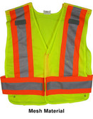 ANSI 207-2006 Public Service Safety Vests ~ Mesh Lime with Orange/Silver Stripes pic 2