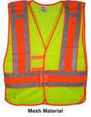 Lime Class II MESH First Responder Safety Vest ~ Orange/Silver Stripes and 5 Point Tear-Away pic 2