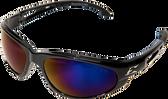 Wolverine (Dakura) Safety Glasses ~ Black Frame with Blue Mirror Lens
