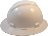 MSA V-Gard Full Brim Hard Hats with Fas-Trac Suspensions White