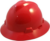 MSA V-Gard Full Brim Hard Hats with One-Touch Suspensions Red