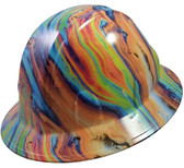 Oil Spill Design Hydro Dipped Hard Hats Full Brim Style