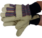 Premium Pigskin Gloves w/ Thinsulate Lining Knit Wrists Pic 1