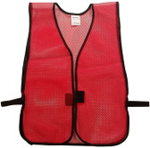 Dark Red Open Mesh Plain Safety Vest  pic 2