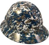 Navy Digital Camo Hydro Dipped Hard Hats Full Brim Style