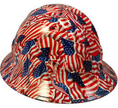 USA Wavy Flag Hydro Dipped Hard Hats Full Brim Style