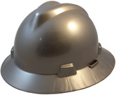MSA V-Gard Full Brim Hard Hats with One-Touch Suspensions Silver