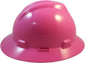 MSA V-Gard Full Brim Hard Hats with Fas-Trac Suspensions Hot Pink Left side