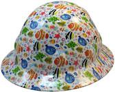 Cartoon Fish Hydro Dipped Hard Hats Full Brim Design ~ Oblique View