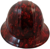 Hades Small Skull Red Hydro Dipped Hard Hats Full Brim Design ~ Front View