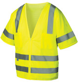 Pyramex Class 3 Hi-Vis Mesh Lime Safety Vests w/ Silver Stripes ~ Front View