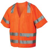 Pyramex Class 3 Hi-Vis Mesh Orange Safety Vests w/ Silver Stripes  ~ Front View