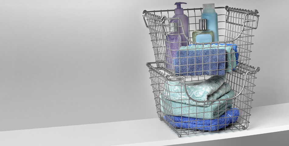 Bath Products in Spectrum Stacking Baskets
