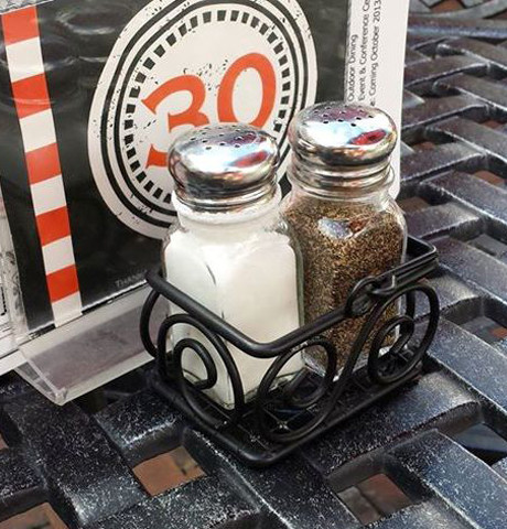 Spectrum Scroll Sugar Packet Basket as a Salt & Pepper holder