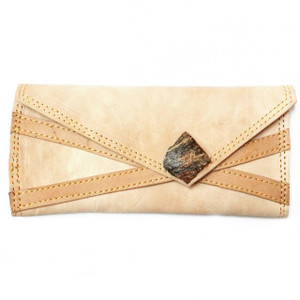 Mayaro Wallet (folded front view)  Handcrafted tan leather wallet with coconut shell clasp detail.  Folded dimensions: 7.5 inches x 3.5 inches.