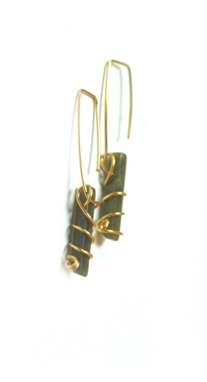 Rachel Rochford. Ore Collection. Jasper and gold plated wire earrings.