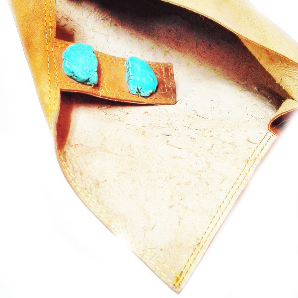 Rachel Rochford X Shoe Lab  Crystal Clutch   Handcrafted variegated tan leather clutch with turquoise detail.  Dimensions: 9 inches x 5.5 inches.