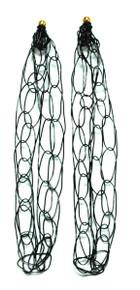 Chain link black wire earrings.