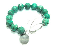 Turquoise and interlaced stainless steel wire bracelet with Rachel Rochford stainless steel charm
