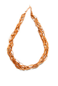 Tan leather chain link necklace
