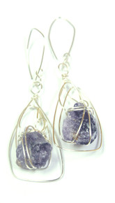 Rachel Rochford. Interlaced silver plated wire with raw amethyst chunks earrings.