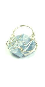 Rachel Rochford. Raw blue fluorite silver plated wire ring.