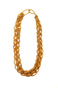 Chain Link Necklace - gold textile