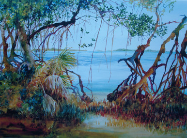 "Bayside Mangroves Offset Lithograph Original watercolor by Karen Vernon 17"" x 23"" picture image"