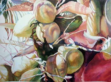 Tropical Breeze Fantasy  Offset lithograph from the original by Karen Vernon  17 x 23