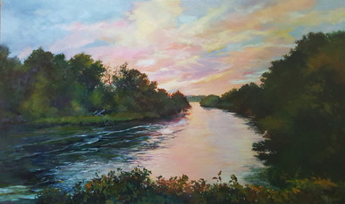 """Deep Water is an original oil painting by Karen Vernon.  The image is that of a tranquil river, flowing under a pastel sunset.  Bounded by rich trees, this painting portrays peace and is the perfect piece for over the mantel, sofa, buffet and king size bed, adding elegance and charm to any room.  The picture image is 36"""" H x 60""""W, painted on museum grade, archival Gessobord by Ampersand Art.  Framed in a gold wood frame the framed size is approximately 42""""H x 66"""" W  Ships in the USA only."""