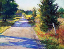 "Journey Into Spring II Original Pastel Painting by Karen Vernon  Picture Image Size:  11"" x 14""  Predominantly created in greens this painting expresses the beauty of light on a Spring Day.  Journey down the country road.  Journey Into Spring II is the second in a series of 3 paintings.  Ships in USA only"