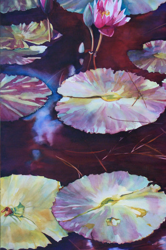 """Meditation  Original watercolor by Karen Vernon  Transparent watercolor on museum grade Aquabord by Ampersand Art Supply  Picture Image Size"""" 30"""" x 22""""  Water lily painting with maroon water.  Ships unframed  Ships in USA only"""
