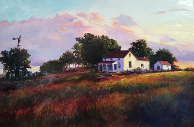 """A setting sun settles over this old homestead in the original oil painting by Karen Vernon The Homestead Picture image: 24"""" x 36"""" Oil Ships in the USA only"""