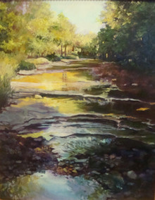 "The Ledges by Karen Vernon, a painting of a Texas stream.  Picture image 20"" x 16""  Oil  Ships in USA only"