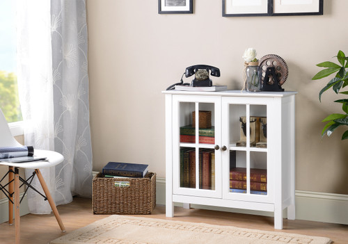 OS Home and Office White Glass Door Accent and Display Cabinet ...