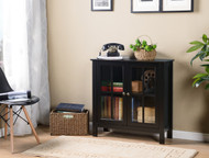 22601 Black Glass Door Accent Cabinet