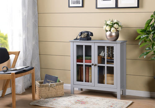 22602 Gray Glass Door Accent Cabinet Part 60