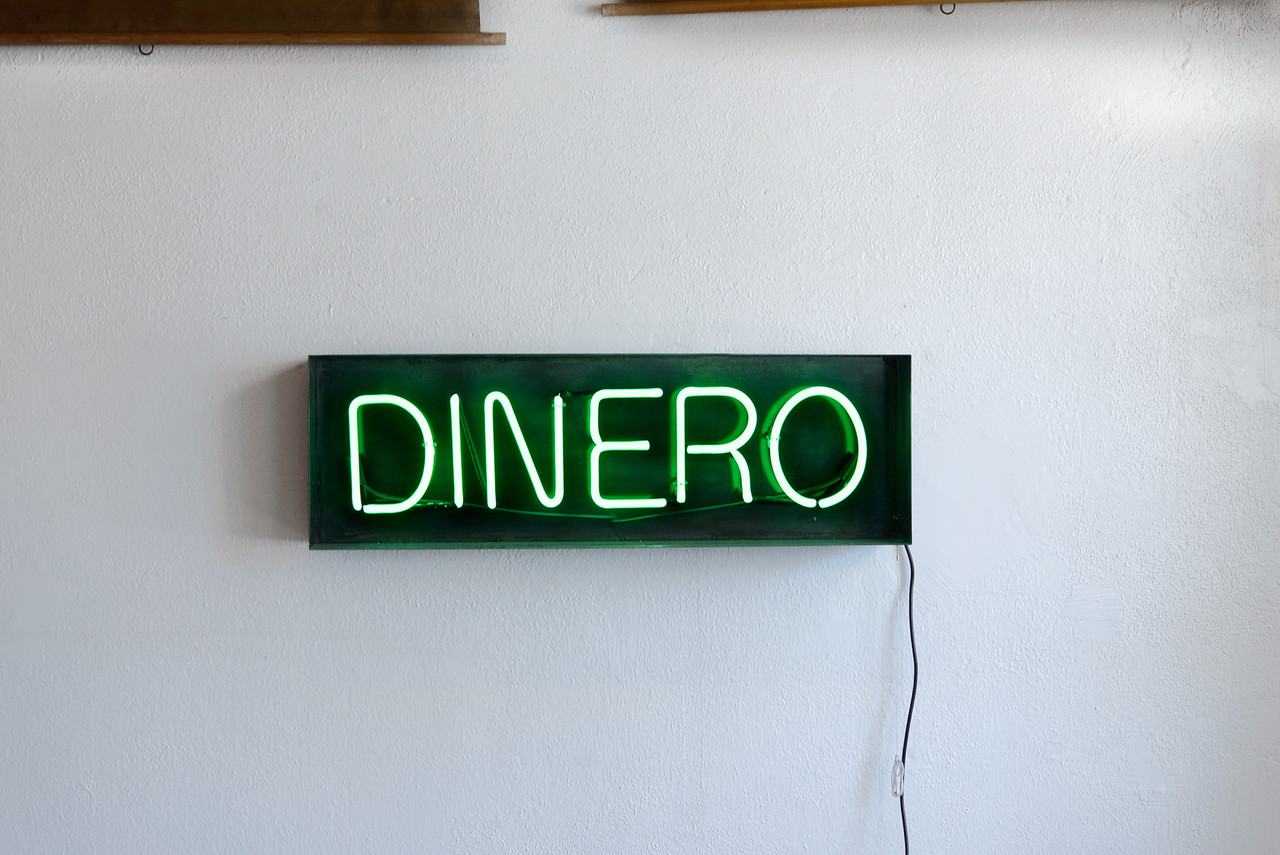 Sold Neon Quot Dinero Quot Sign Repurposed In Steel Frame