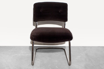 1980s Steelcase Side Chair with Brown Micro-Velvet