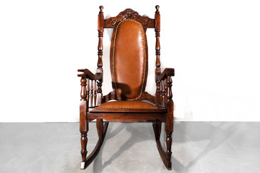 Victorian Era Oak Rocking Chair With Leather. 1890s