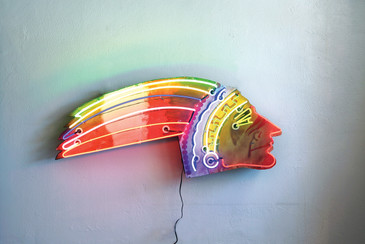 SOLD - Vintage Neon Indian Head Sign, Handpainted
